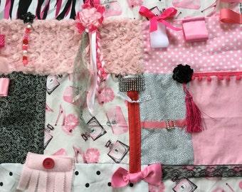 PERFUME LiP STICK & HEELS | Grandma Gift for Dementia | Alzheimer's Quilt | Fidget Blanket | by Restless Remedy