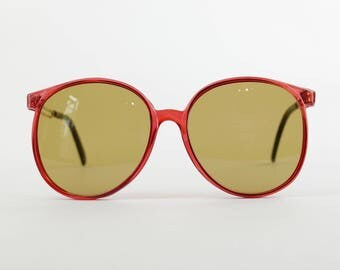 Awesome Deadstock Vintage 70's Red Oversize Sunglasses