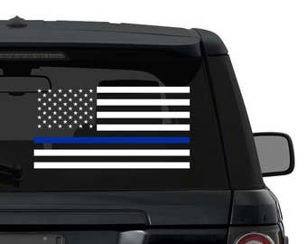Thin Blue Line Flag Decal Sticker for Car Truck Laptop
