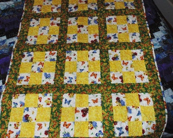 100% cotton Baby Crib Quilt Yellow, Green, Floral, Butterflies With Lady Bug Quilting