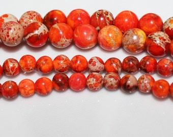"16"" Strand of 4mm Smooth Round Impression Jasper ***Dyed Orange Beads #30"
