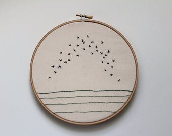 "Flock II Contemporary Bird Embroidery Hoop Art, 6"""