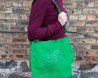 Green Turtle - Embroidered Messenger Bag