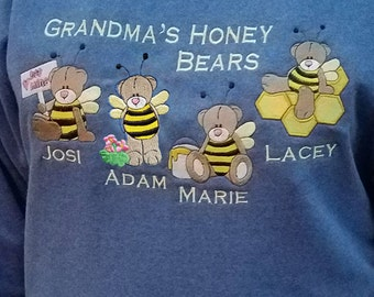 Grandma's Honey Bears - Personalized Embroidered Crewneck Sweatshirt