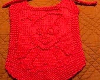Hand Knit Ghost Baby Bib and Washcloth