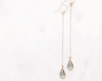 JEN | Long Gold Chain Earrings | Long Dangle Earrings | Long Dangle Crystal Earrings | Long Gold Chain Earrings | Bridesmaid Earrings