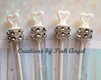 Set of 25 Silver Wedding Bubbles, Send Off Bubbles in Silver, Bubble Wand Favors, Bling Silver Bubbles, Silver Bridal Shower Bubble Favors