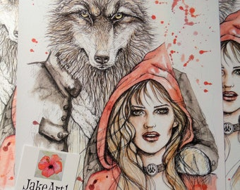 Little Red Riding Hood fantasy art print, fairy tale art print, fairy story art print, fantasy illustration print, gift for her, wolf art
