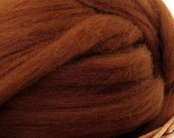 Dyed Shetland Natural Spinning Fiber / 1oz - Chocolate
