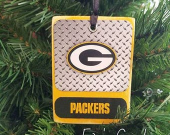 Green Packers Wood Christmas Ornaments NFL Ornaments