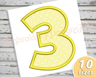 Number 3 Applique Design - 10 Sizes - Machine Embroidery Design File