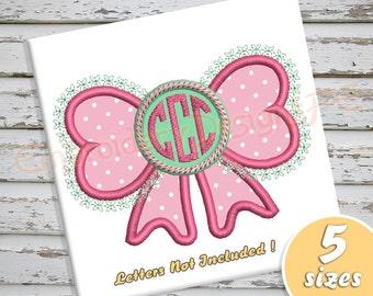 Bow Applique Design - 5 Sizes - Machine Embroidery Design File