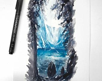 Turquoise - Watercolour Original