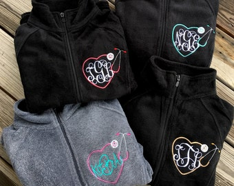 Fleece Monogrammed stethoscope full zip woman adult youth teen boy girl south gift pullover jacket southern school work business nurse