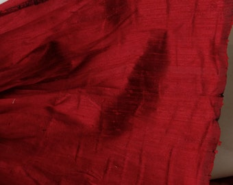 """Free Shipping, Dupioni Silk Fabric Red, 100% Silk, 52"""" sold by the yard"""
