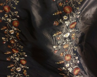 """Two Tone Embroidered 100% Poly Taffeta Silk Like Fabric 60"""" Wide,  BTY, Free SHipping In USA"""