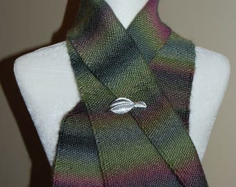 Handwoven Scarf, Hand woven Scarf, Scarf, Handmade Scarf, Green and Pink Scarf, Handwoven by Blind Sparrow