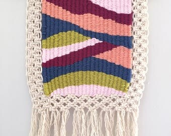 Hand woven, tapestry/macrame combo wall hanging - 'Kyra'. One of a kind.
