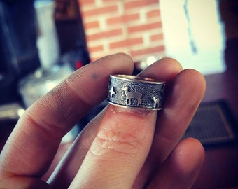 Unique Handmade Sterling Silver Nature Ring With Patina, Textured, Size 6 1/2, Wandering Deer Through Mountains