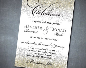 Gold and Silver Wedding Invitation printable/Digital File/glitter, engagement party/Wording can be changed
