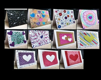 11 Notecards Greeting Handmade Art Cards  #QN27.18.28.26.24.25.23.22.19.20.21
