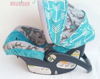 Arrow Deer Boutique Boys Infant Car Seat Carseat Cover, Canopy Teal & Grey