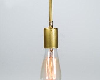 Edison bare bulb brass pendant light industrial style