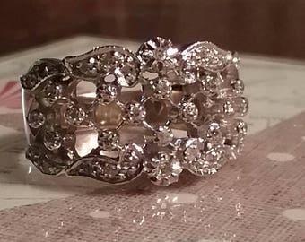 Vintage 10k Filigree and Diamond Ring