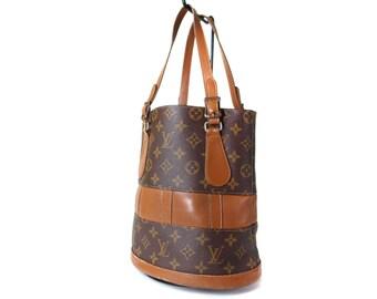 Authentic vintage 1970s Louis Vuitton brown monogram canvas bucket bag shoulder purse