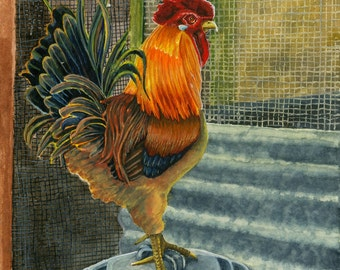 Print of Lynn Wilkerson's Rooster Water Color