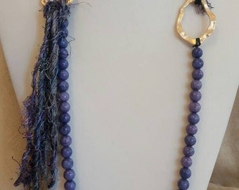 Long Beaded Neclace Purple Agate Necklace