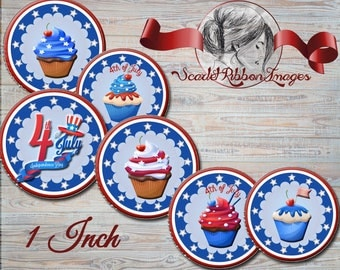 Patriotic 4th of July or American Red, White, and Blue cupcake 1 inch Bottle Cap images  printable digital collage sheet, stickers,  magnets