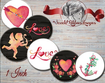 Valentine bottle cap Images 1 inch round Bottle cap size - circles 600dpi Collage Sheet, glass pendants, Label, Cupcake topper, Tag