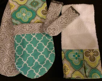 Two-Handed Potholder Set with Panhandle covers and Matching Towel