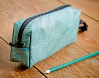 Small Cosmetic Bag, handmade from colorful recyceled and laminated leaves