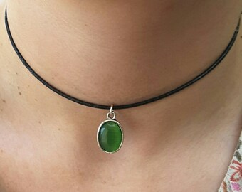 Black Leather Choker Necklace, Green Jewelry, Green Necklace Choker, Pendant Necklace Choker, Australian Made, Gift for Her, Oval Pendant