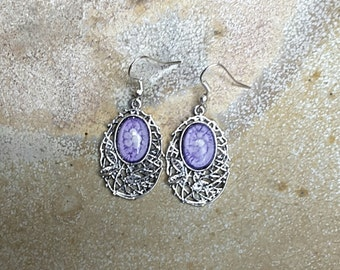 Mauve Dangle Earrings, Purple Dangle Earrings, Nickel Free Earrings, Australian Made, Purple Jewelry, Gift for Her Ladies Gift, Cameo, Boho
