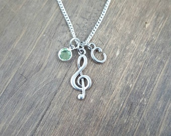 Personalized Musical Note Necklace - Initial Music Lover Necklace - Initial, Birthstone Necklace - Music Teacher Gift