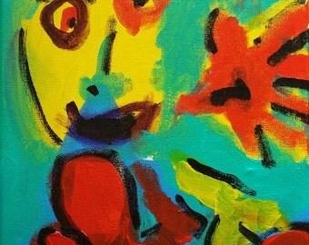 "Original Acrylic Painting Art, Original Expressionism Painting, Expressionism, Original Abstract Painting Canvas 9""x12"" Self Portrait Art"