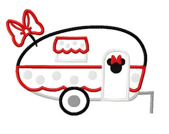 Inspired Miss Mouse Character Camper RV Embroidery Applique Design