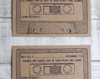 Set of 32 Small Song Request Cards - Retro Cassette - 80's Party - Wedding Reception - Humour
