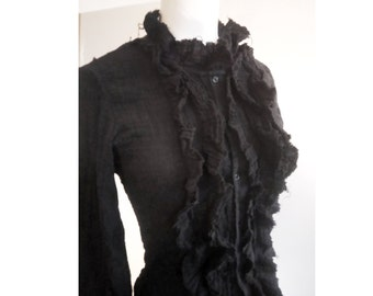 Black blouse lightweight Gothic grunge frilled destroy