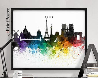Paris poster, Paris print, Paris skyline, France, wall art, home decor, travel poster, city prints, art gift, home gallery, iPrintPoster