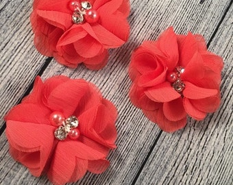 "Coral Chiffon Flower with Pearls, 2"" Chiffon Flower, Pearls, Flower,  Headband Accessories, Craft Suppliers,"