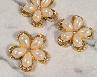 Flower Flatback Rhinestone, Pearl Flower Flatback, Crystal Pearl Flower, Invitations, Sewing Supplies
