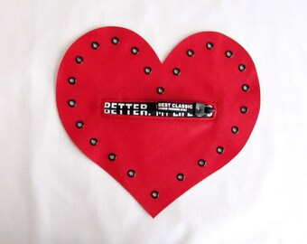 Leather Heart Patch/Red Leather Heart Applique/