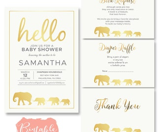 gold elephant baby shower invitation, fOIL elephant baby shower invitation, elephant baby shower invitation gold