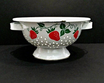 Vintage Strawberry Enamel Strainer by Teleflora 1983