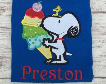 Snoopy Applique Shirt, Snoopy Birthday Shirt