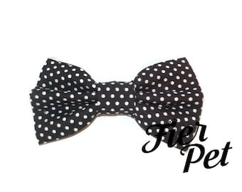 Bow tie for dog collar,bowtie ,black pin dot, black and white, bow, collar and bow, fier-pet,fierpet,large dog collar,dog accessories
